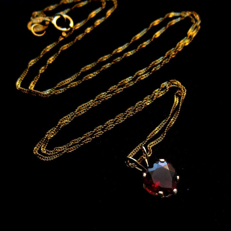 Solid 14K Gold and Tiny Red Garnet Heart Necklace Small image 0