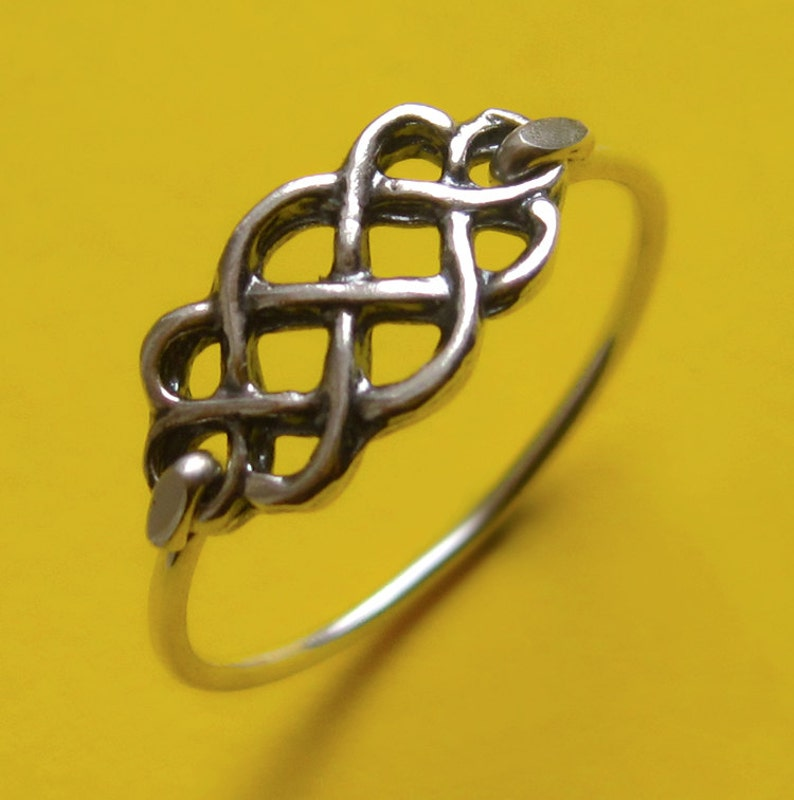 Sterling Silver Celtic Infinity Knot Ring Thin Thumb Band image 0