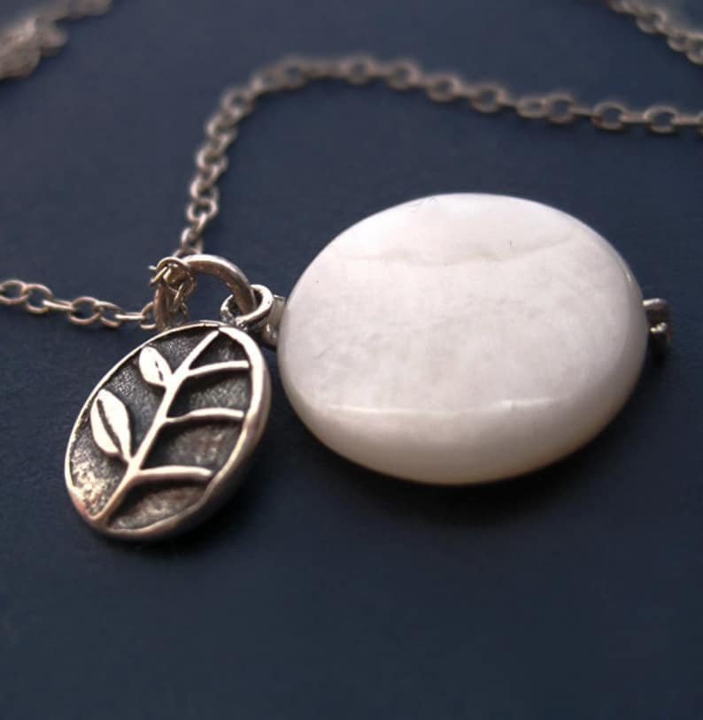 Bali Sterling Silver Branch and White Shell Coin Necklace image 0