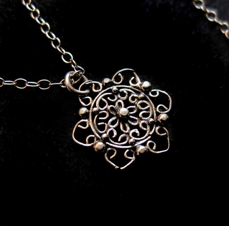 Sterling Silver Filigree Flower Necklace Wirework Lace Doily image 0