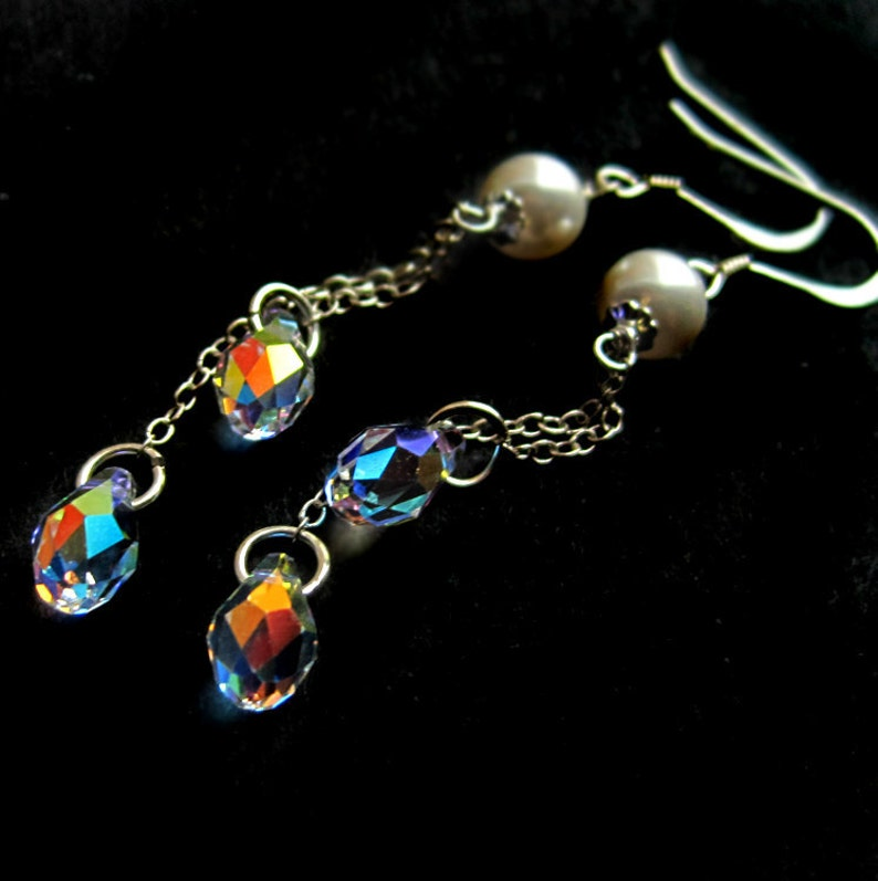 Long Sterling Silver White Swarovski Pearl and Crystal image 0