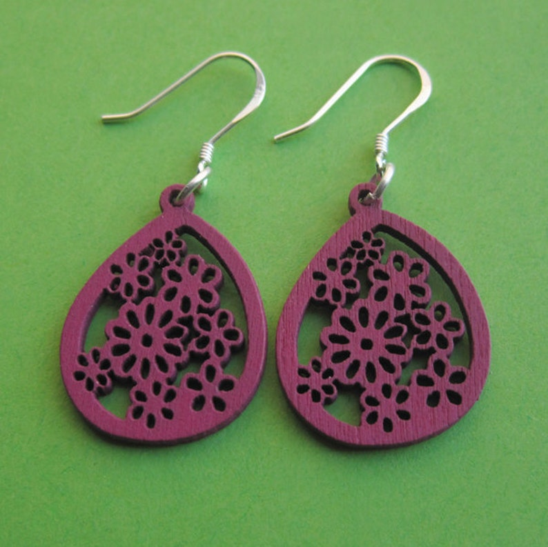 Violet Blooms  Sterling Silver and Wood Flower Stencil image 0