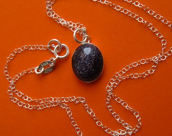 Sterling Silver Blue Goldstone Stardust Necklace, Oval Bezel Cosmic Galaxy Navy Sandstone Pendant Astronomy Astrology 16 Birthday Gift
