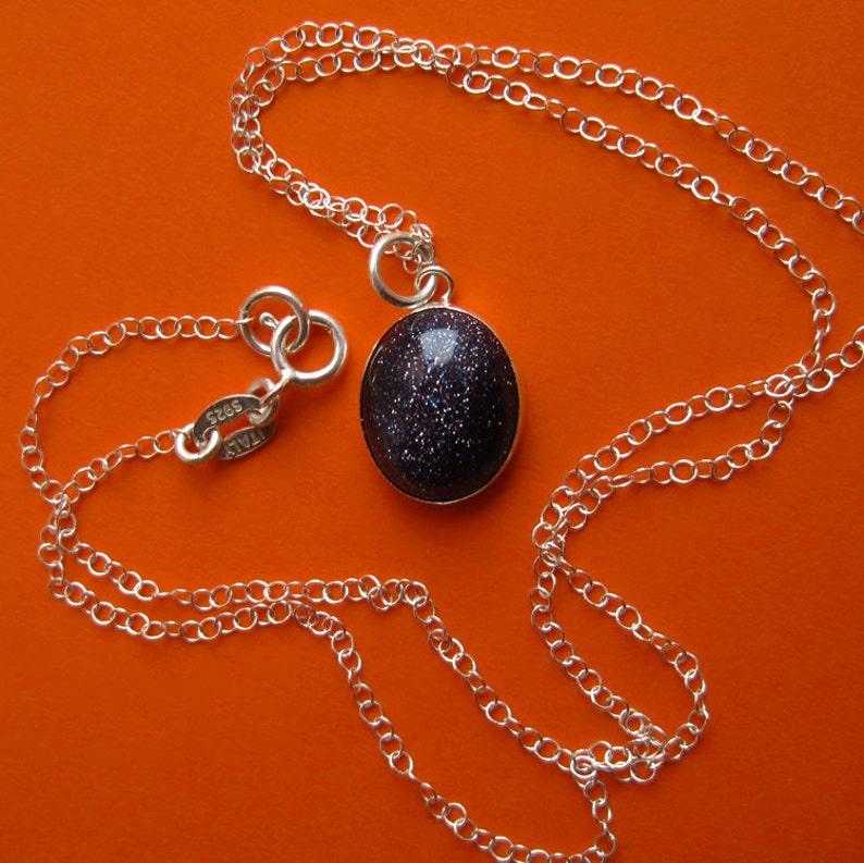 Sterling Silver Blue Goldstone Stardust Necklace Oval Bezel image 0