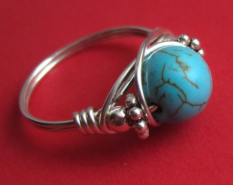 Sterling Silver and Wire Wrapped Turquoise Ring, Right Hand Band Round Aqua Sleeping Beauty Howlite Semiprecious Stone Bead