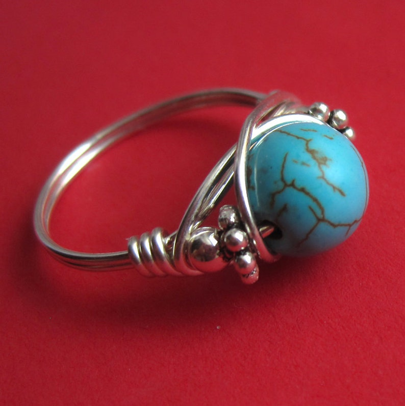 Sterling Silver and Wire Wrapped Turquoise Ring Right Hand image 0