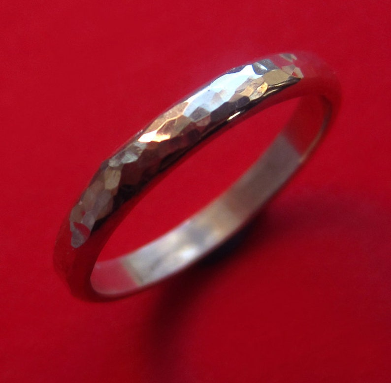Hammered Sterling Silver Band Organic Modern Artisan image 0