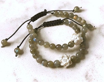 One REVERSIBLE 999 Fine Sterling Silver Lotus/Sakura Flower Labradorite Bracelet, Adjustable Stone Bead Flip 2-in-1 Creativity Psychic Gift