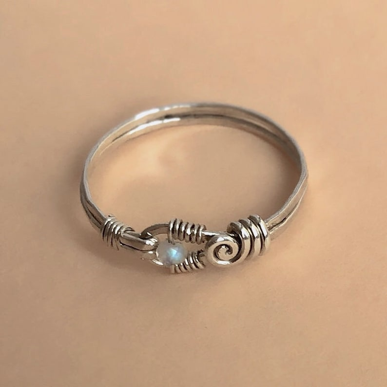 Intricate Sterling Silver Tiny Moonstone Ring Wire Wrapped image 1