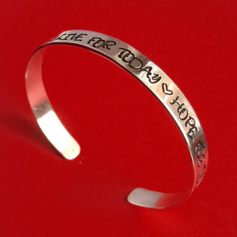 Personalized Sterling Silver Cuff Bracelet Handstamped Custom image 0