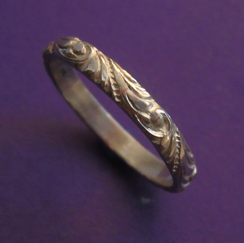 Sterling Silver Etched Renaissance Scroll Ring Carved Pattern image 0