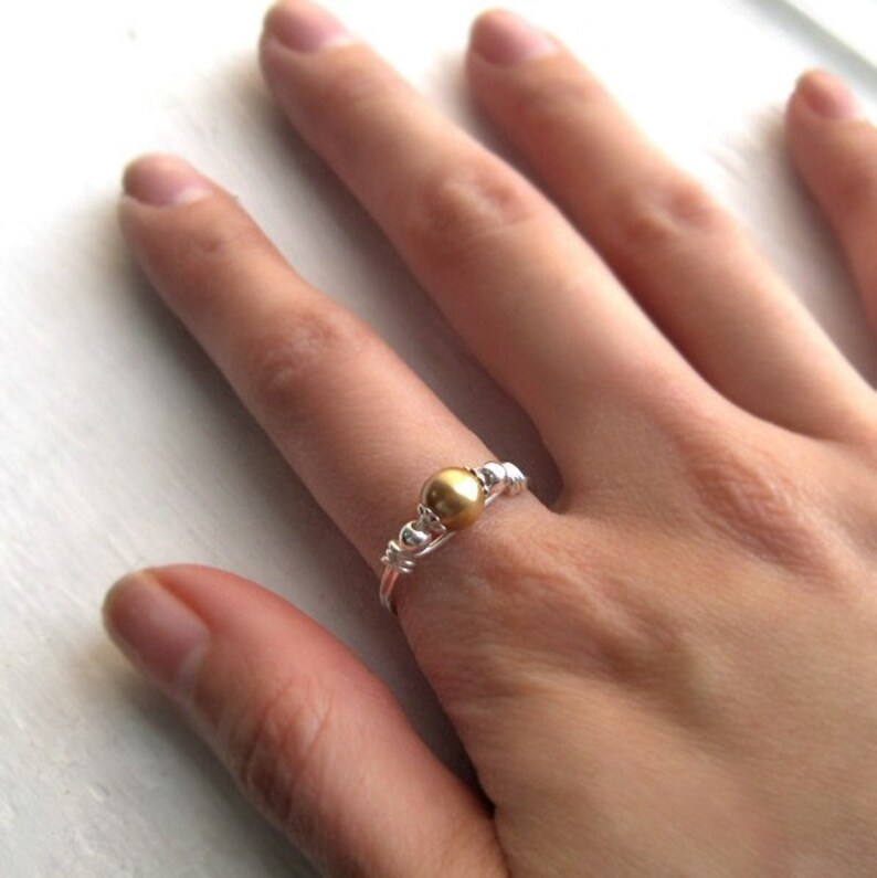 Sterling Silver and Gold Swarovski Pearl Wire Wrapped Ring image 0