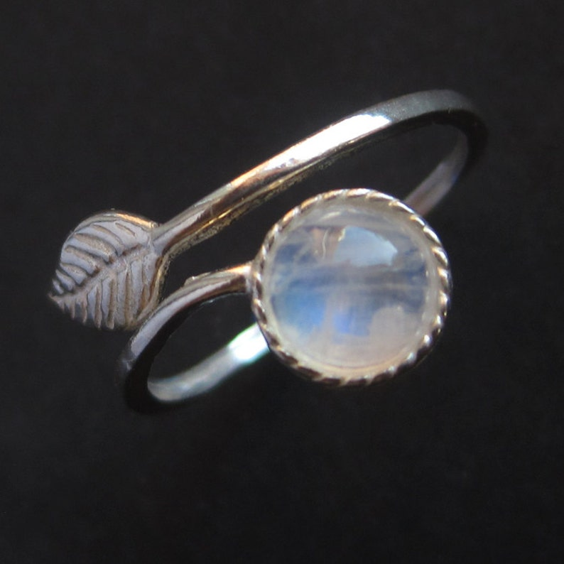 Adjustable Sterling Silver Rainbow Moonstone Leaf Ring image 0