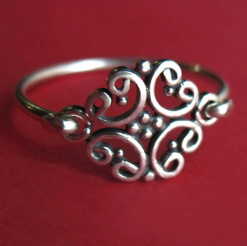 Small Sterling Silver Antique Style Pinky Ring image 0