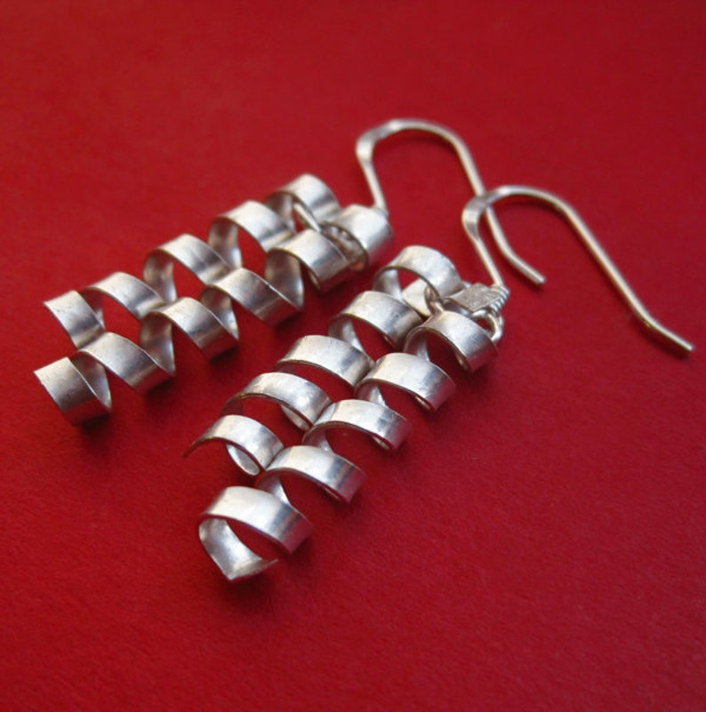 Sterling Silver Confetti Strip Earrings Spiral Ribbon Curl image 0