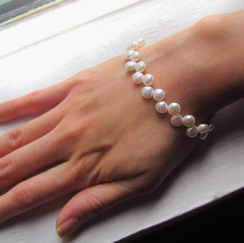 White Freshwater Button Pearl and Sterling Silver Bracelet image 0