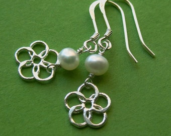 Sterling Silver Flower Dangle Earrings With Tiny Freshwater Pearls, Dainty Ivory White Drops, Pretty Bridesmaid Daughter June Birthday Gift