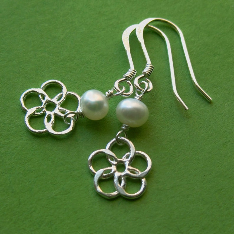 Sterling Silver Flower Dangle and Freshwater Pearl Earrings image 0