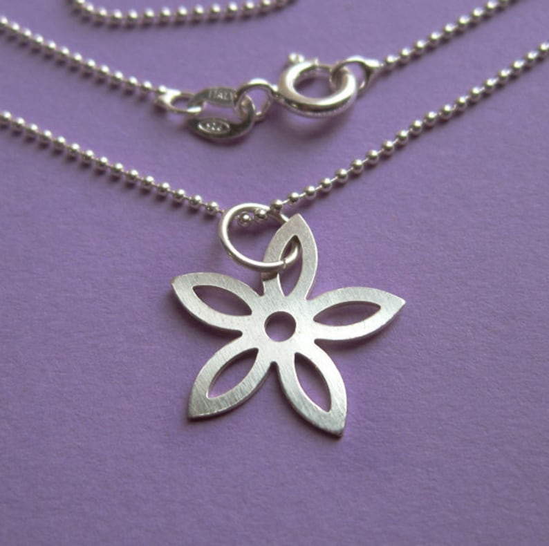 Simple Sterling Silver Flower Stencil Necklace Simple Dainty image 0
