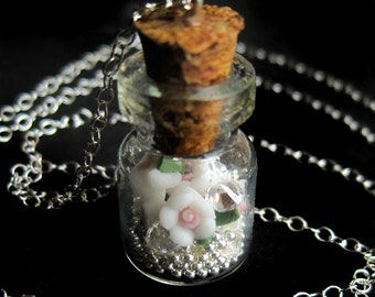 Sterling Silver Wish Jar Necklace with Polymer Clay Roses and Cubic Zirconia Diamonds, Glass Bottle Vial Keepsake Gift for Woman Her Girl