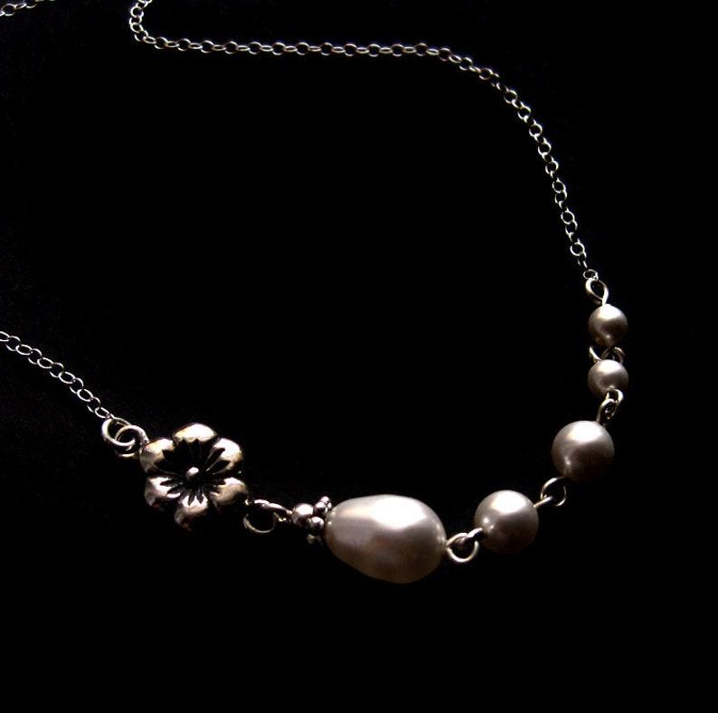 Antiqued Sterling Silver Flower and Swarovski Pearl Link image 0