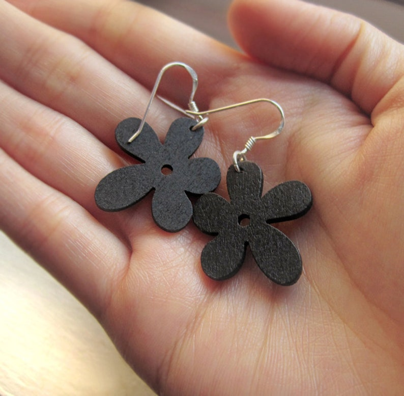 Sterling Silver and Black Wood Flower Earrings Simple Cutout image 0