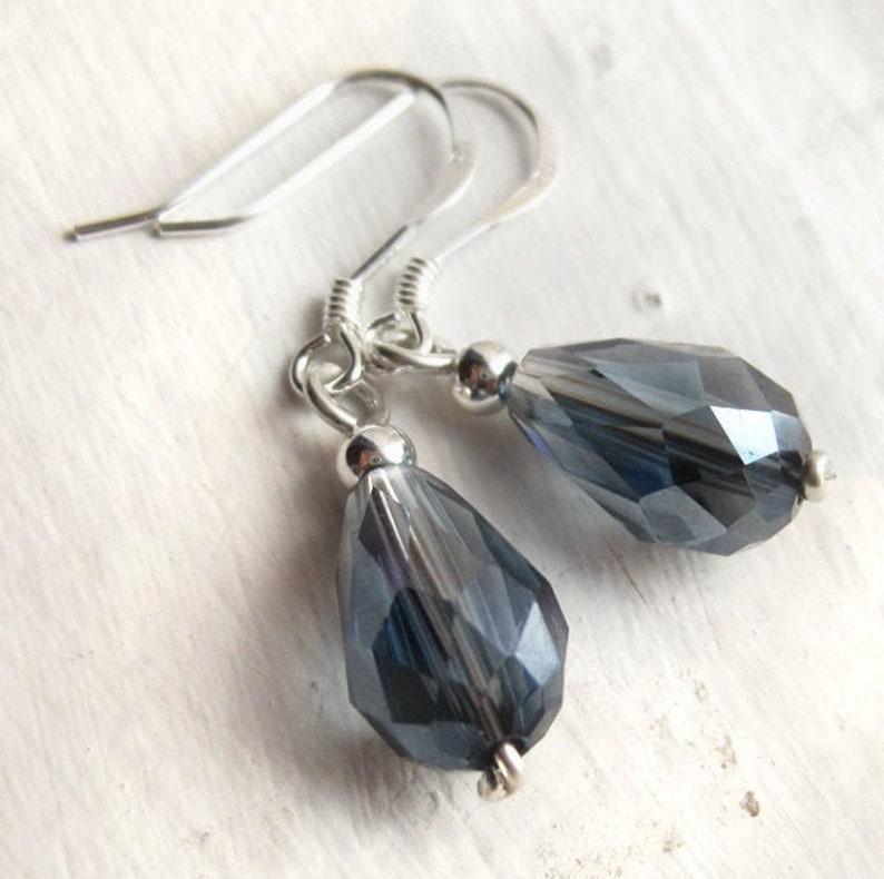 Sterling Silver and Crystal Teardrop Earrings Something Blue image 0