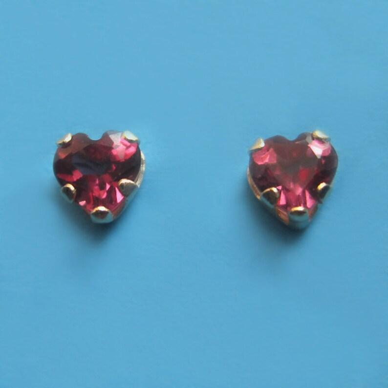 Tiny 14K Gold and Rhodolite Garnet Heart Stud Earrings image 0