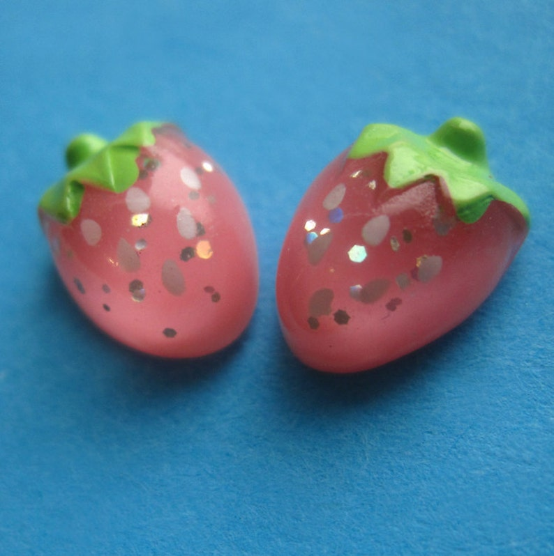 Sterling Silver and Pink Strawberry Studs Sparkle Resin Fruit image 0