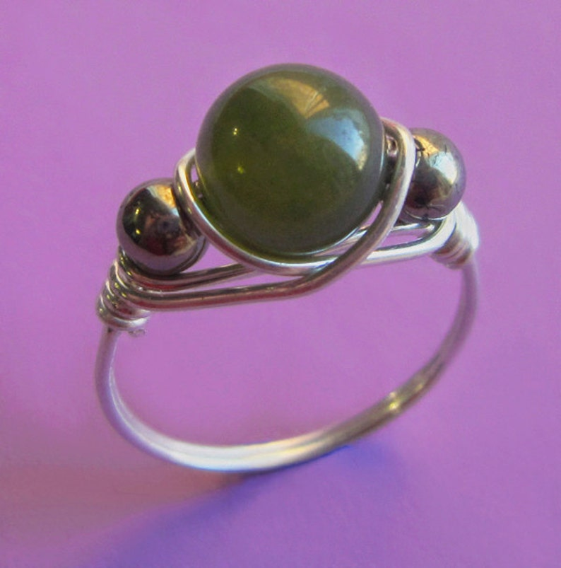 Sterling Silver Wire Wrapped B.C. Jade and Pyrite Ring Right image 0