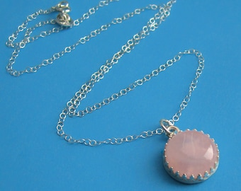 Rose Quartz Sterling Silver Crown Bezel Necklace, Pink Mother's Day Princess Round Semiprecious Gemstone Gift for Woman Girl Wife Mom Sister