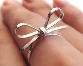 Skinny Sterling Silver Forget Me Knot Bow Tie Ring, BFF Girlfriend Promise Keepsake Memory Band