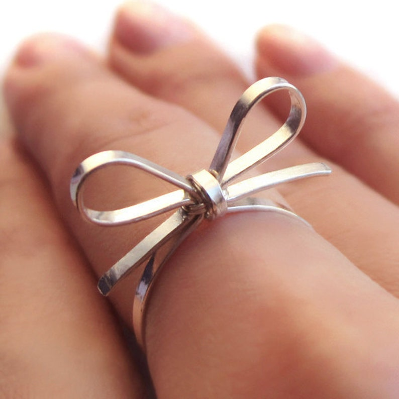 Skinny Sterling Silver Forget Me Knot Bow Tie Ring BFF image 0