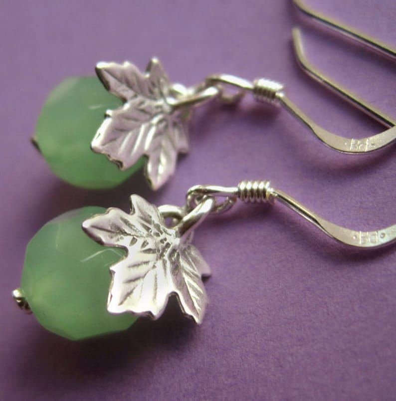Small Sterling Silver Oak Leaf and Green Glass Earrings image 0