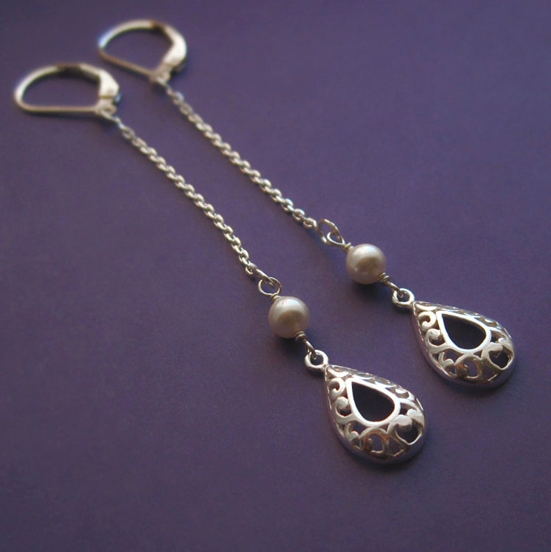 Long Sterling Silver Chain and Filigree Teardrop Earrings With image 0