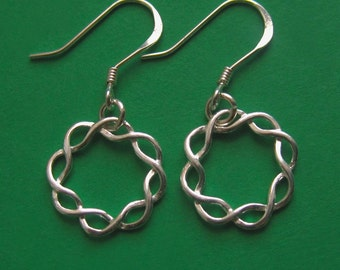 Small Sterling Silver Braided Circle Earrings, Simple Twist Celtic Wire Wreath, Fish Hook Dangly Gift for Mom Aunt Daughter Grandma Wife