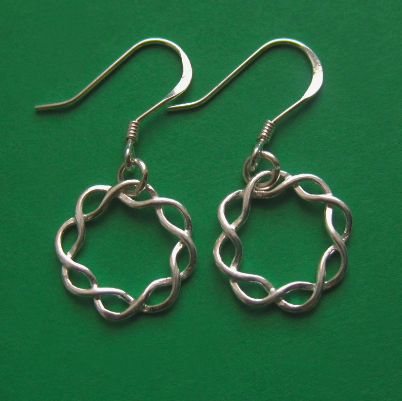Small Sterling Silver Braided Circle Earrings Simple French image 0