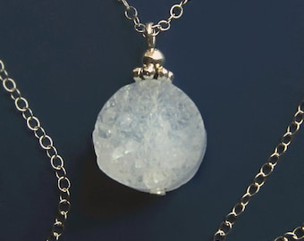 Quartz Crystal Druzy Sterling Silver Necklace, Organic Round White Modern Sugar Stone Glittery Rock Pendant Simple Gift, Minimalist Choker