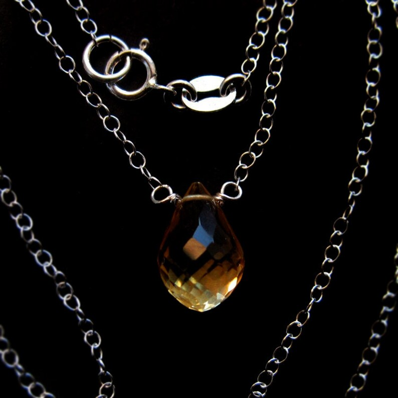 Citrine Teardrop and Sterling Silver Necklace November Yellow image 0
