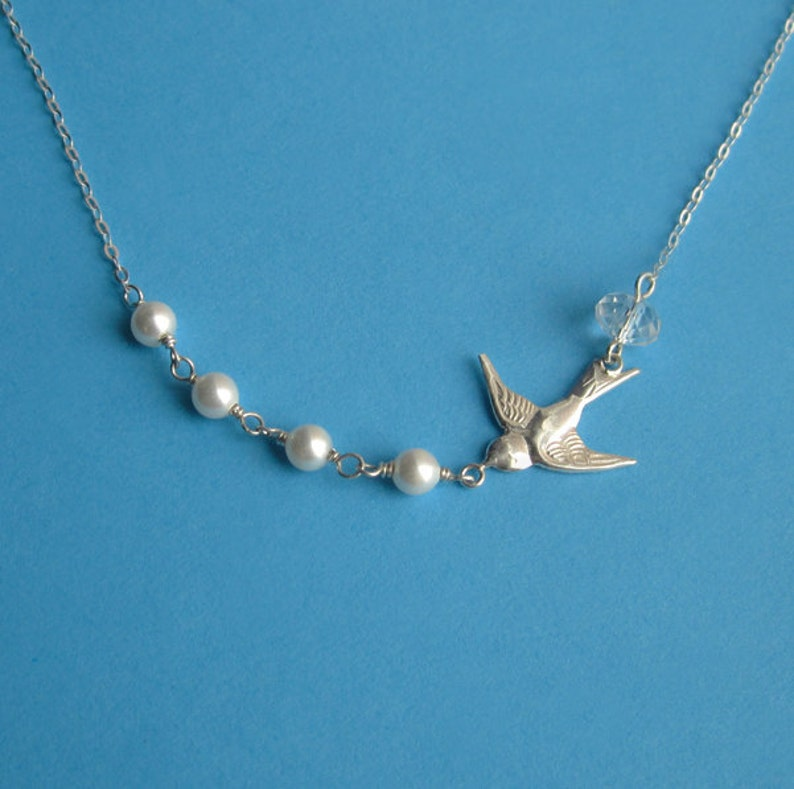 Sterling Silver Swallow Crystal and Swarovski Pearl Link image 0