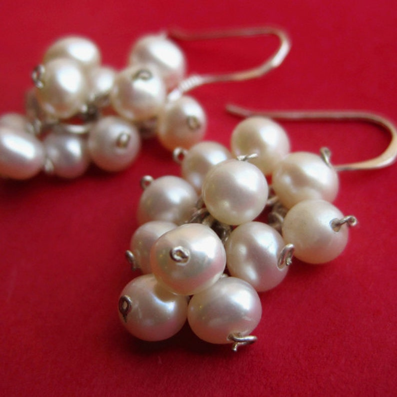 Sterling Silver and White Freshwater Pearl Grape Bunch image 0