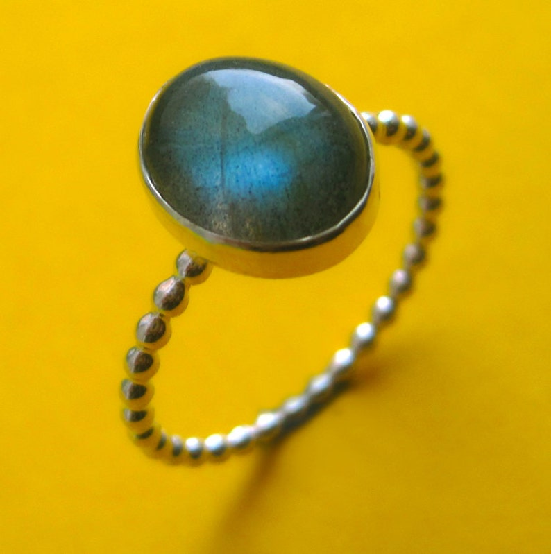 Sterling Silver and Oval Labradorite Ring  Choose Your Color image 0