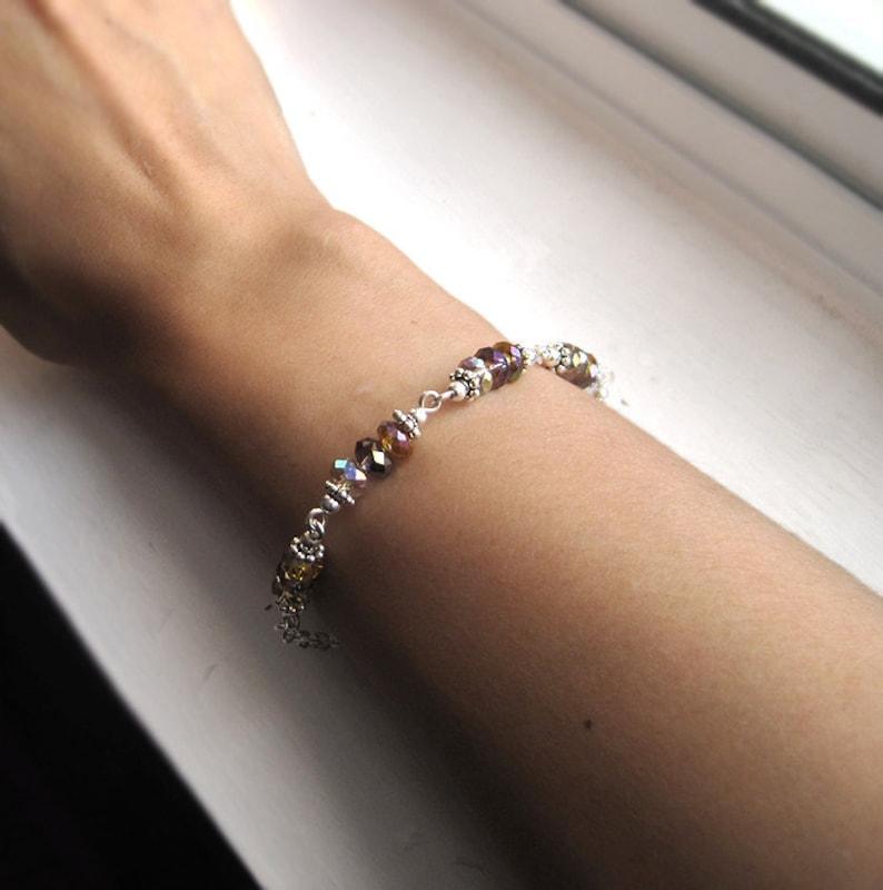 Sterling Silver Tricolor Crystal Bracelet Topaz Amethyst and image 0