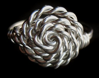 Sterling Silver Twisted Rope Rosette Ring, Right Hand Basket Woven Wire Band