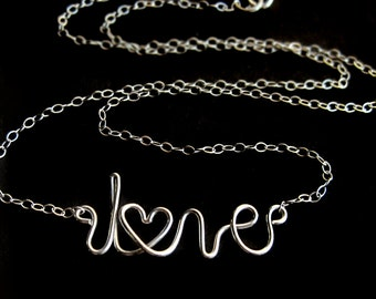 Sterling Silver Cursive Love Necklace, Handwriting Choker Layering Message Word Wirework Valentine Birthday Anniversary Gift for Wife Girl