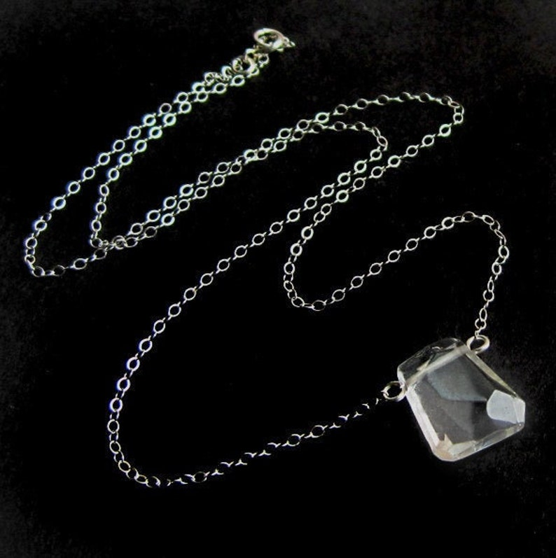 Freeform Crystal Quartz and Sterling Silver Necklace Simple image 0