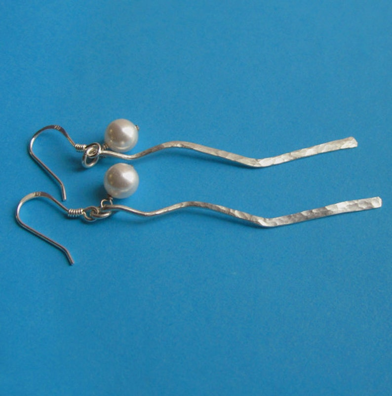 Hammered Sterling Silver Branch and White Swarovski Pearl image 0