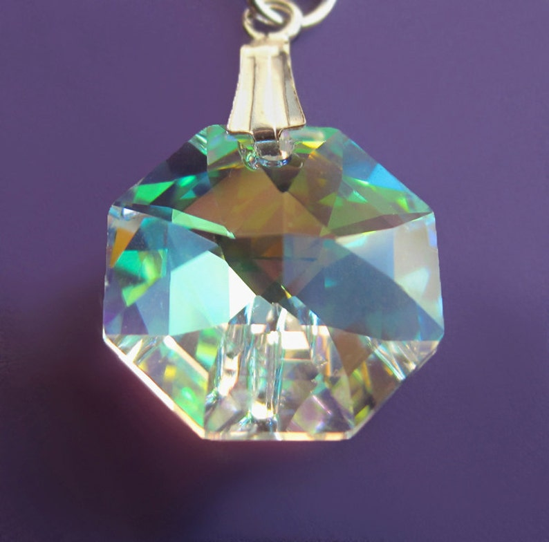 Swarovski Rainbow Crystal Sterling Silver Necklace Octagon image 0