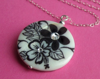 Sterling Silver, Black and White Shell, Swarovski Crystal Fairy Gardens Necklace -- Double-sided Whimsical Pendant, Round Printed Disc Charm