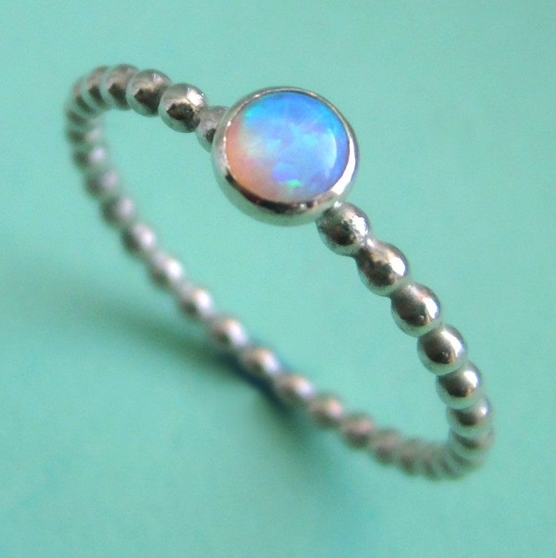 Sterling Silver Ring With Tiny Lab Opal Happy Dots Bezel-Set image 0